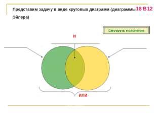 Представим задачу в виде круговых диаграмм (диаграммы Эйлера) «Торты» (?) «Пи