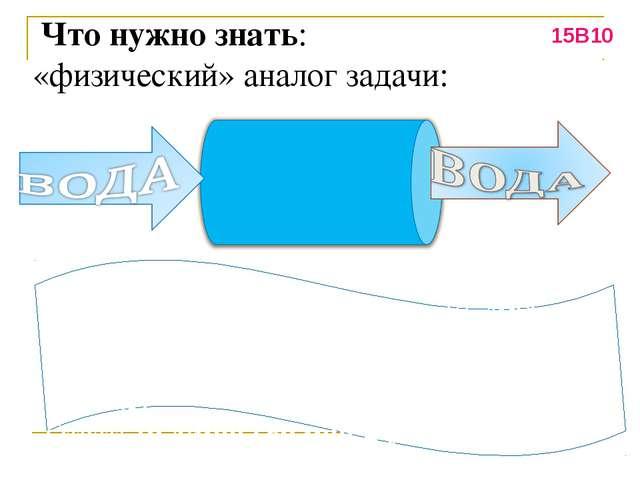Что нужно знать: «физический» аналог задачи: Пропускная способность – 10 л/м...