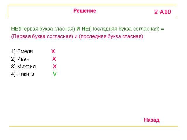 НЕ(Первая буква гласная) И НЕ(Последняя буква согласная) = (Первая буква согл...