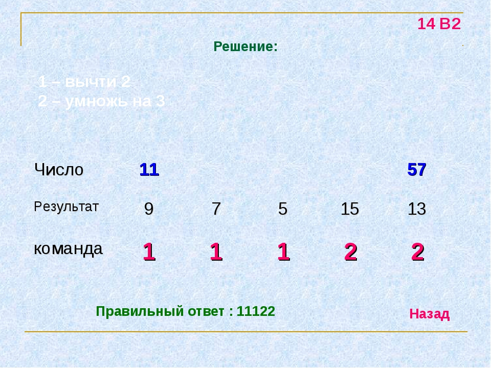 Решение: 14 В2 1 – вычти 2 2 – умножь на 3 Правильный ответ : 11122 Назад Чис...