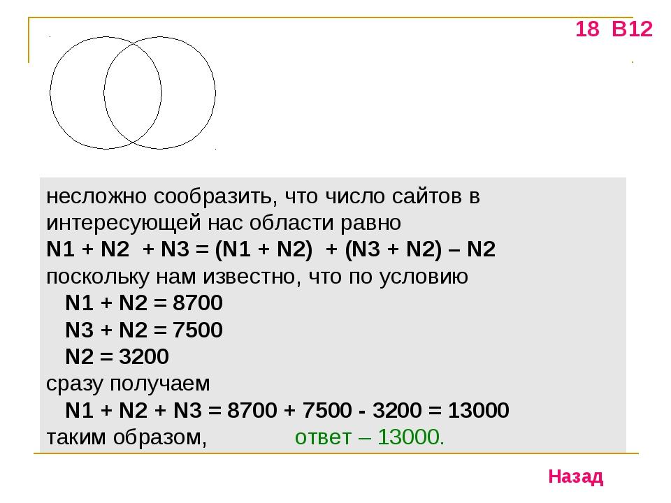 18 В12 несложно сообразить, что число сайтов в интересующей нас области равно...