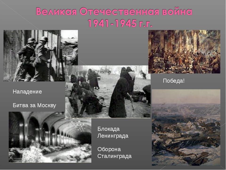 Блокада Ленинграда Оборона Сталинграда Победа! Нападение Битва за Москву