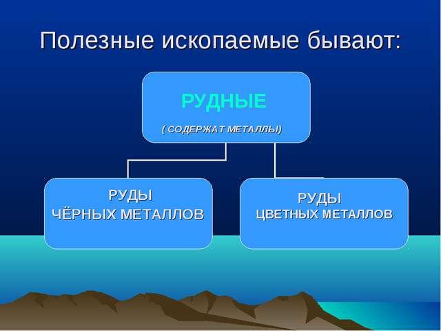 Полезные ископаемые бывают: РУДНЫЕ РУДЫ РУДЫ