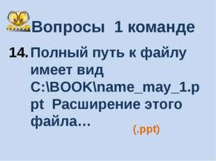 Вопросы 1 команде Полный путь к файлу имеет вид C:\BOOK\name_may_1.ppt Расшир