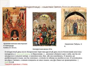 Троица ( Пятидесятница) – сошествие Святого Духа на апостолов Евангелие Рабул