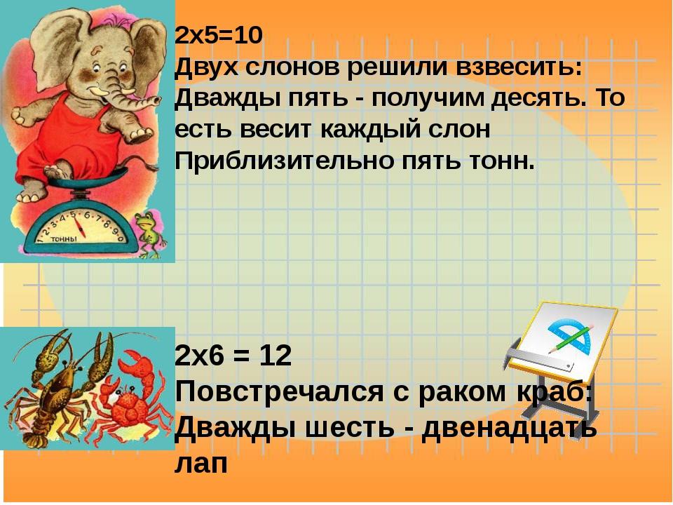 2x5=10 Двух слонов решили взвесить: Дважды пять - получим десять. То есть вес...