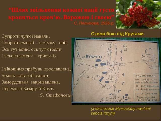 """Схема бою під Крутами (з експозиції Меморіалу пам'яті героїв Крут) """"Шлях зві..."""