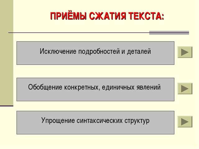 ПРИЁМЫ СЖАТИЯ ТЕКСТА: Исключение подробностей и деталей Обобщение конкретных,...