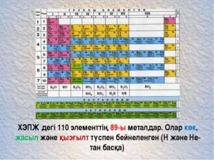 ХЭПЖ дегі 110 элементтің 89-ы металдар. Олар көк, жасыл және қызғылт түспен б