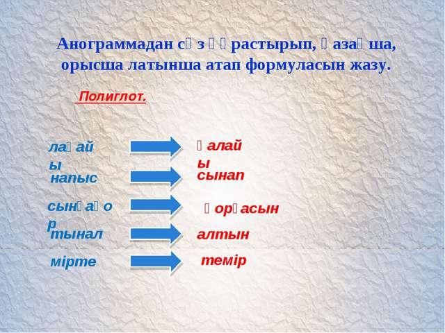 Анограммадан сөз құрастырып, қазақша, орысша латынша атап формуласын жазу. По...