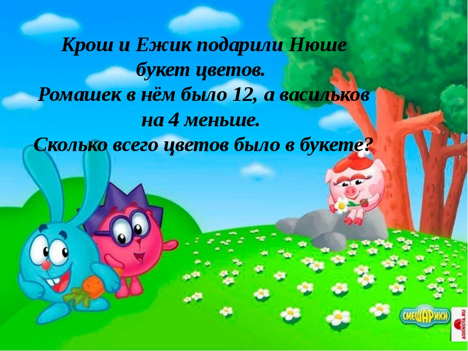 Крош и Ежик подарили Нюше букет цветов. Ромашек в нём было 12, а васильков на...