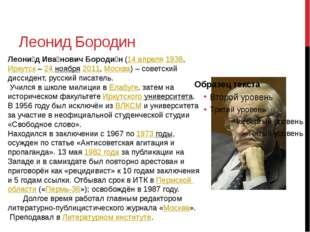 Леонид Бородин Леони́д Ива́нович Бороди́н(14 апреля1938, Иркутск – 24 нояб