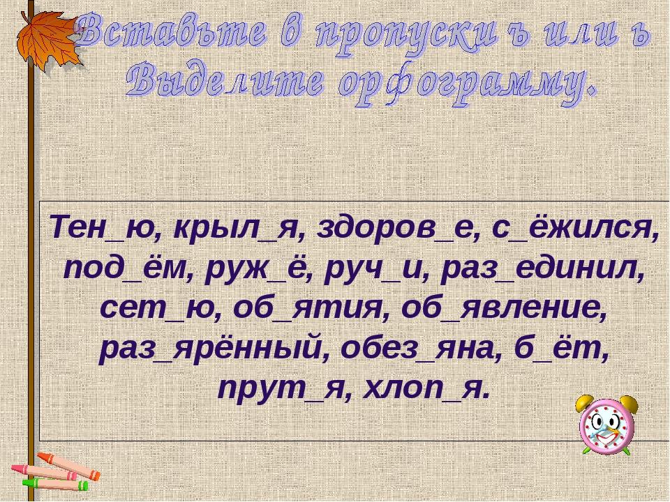 Тен_ю, крыл_я, здоров_е, с_ёжился, под_ём, руж_ё, руч_и, раз_единил, сет_ю, о...