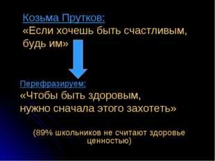 Козьма Прутков: «Если хочешь быть счастливым, будь им» Перефразируем: «Чтобы