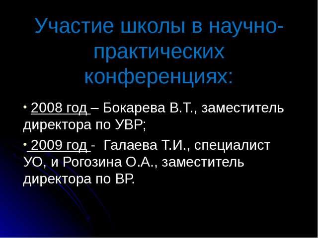 Участие школы в научно-практических конференциях: 2008 год – Бокарева В.Т., з...