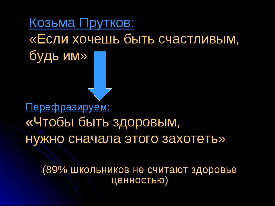 Козьма Прутков: «Если хочешь быть счастливым, будь им» Перефразируем: «Чтобы...