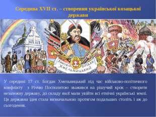 Середина ХVІІ ст. – створення української козацької держави У середині 17 ст.