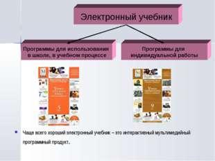Чаще всего хороший электронный учебник – это интерактивный мультимедийный пр