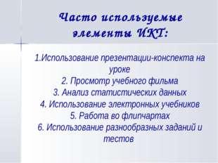 Часто используемые элементы ИКТ: 1.Использование презентации-конспекта на ур