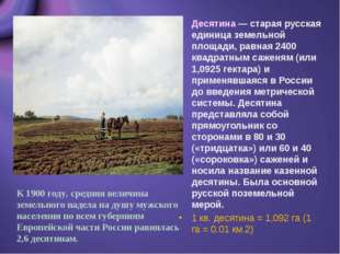 Десятина — старая русская единица земельной площади, равная 2400 квадратным с