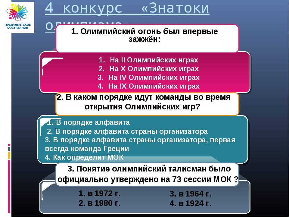 4 конкурс «Знатоки олимпизма» 1. В порядке алфавита 2. В порядке алфавита стр...