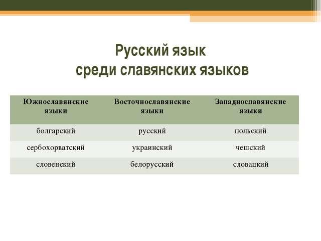 Русский язык среди славянских языков Южнославянские языкиВосточнославянские...