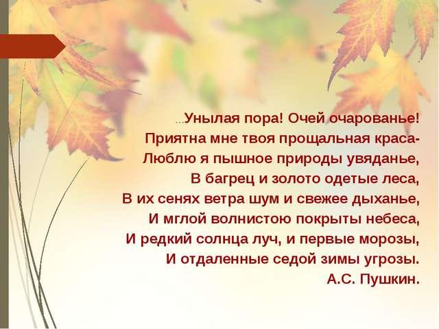 …Унылая пора! Очей очарованье! Приятна мне твоя прощальная краса- Люблю я пыш...