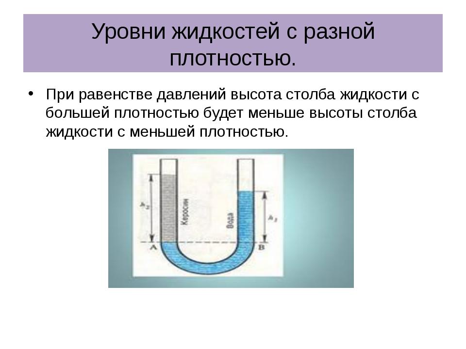 Уровни жидкостей с разной плотностью. При равенстве давлений высота столба жи...