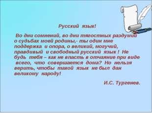 Русский язык! Во дни сомнений, во дни тягостных раздумий о судьбах моей родин