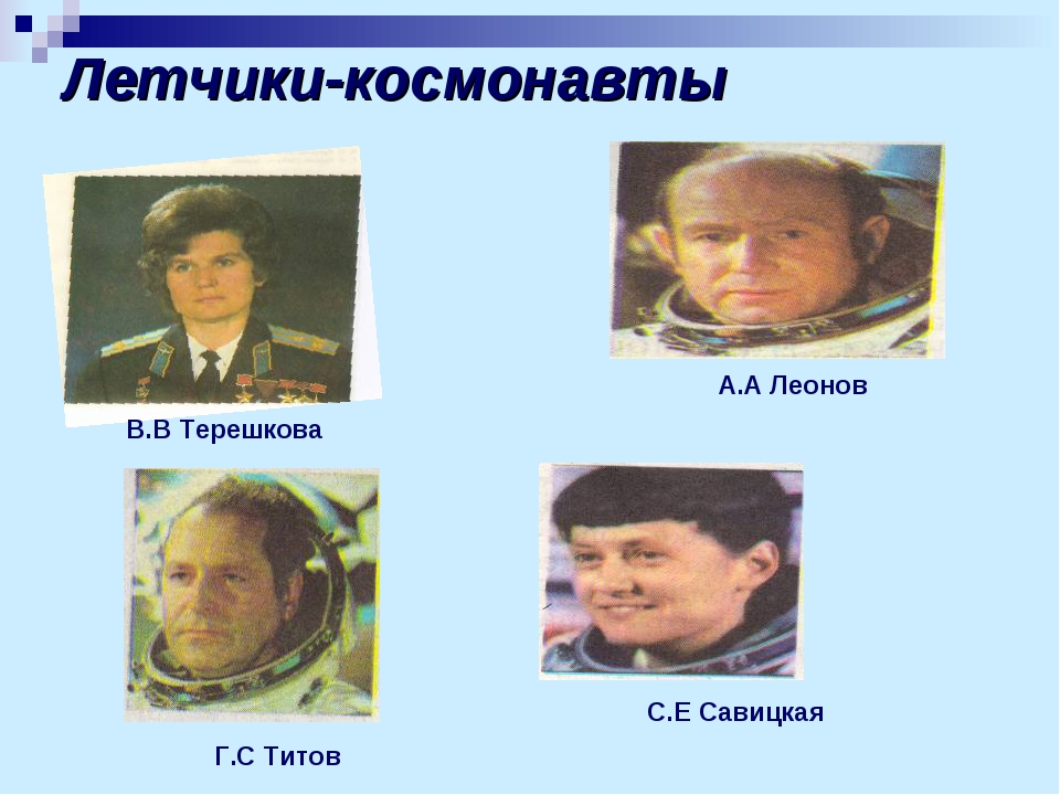 Летчики-космонавты Г.С Титов А.А Леонов С.Е Савицкая В.В Терешкова