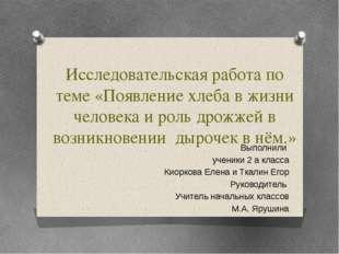 Исследовательская работа по теме «Появление хлеба в жизни человека и роль дро