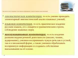 Курс русского языка и литературы в школе нацелен на формирование у учащихся