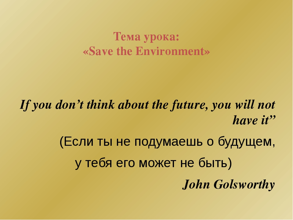 Тема урока: «Save the Environment» If you don't think about the future, you...