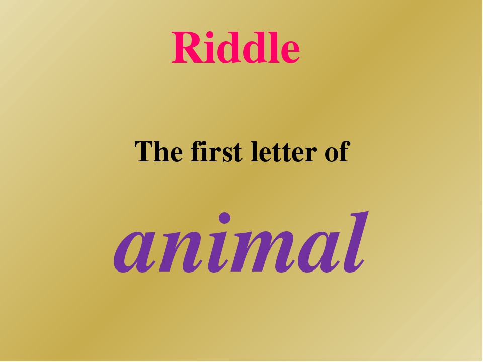 Riddle The first letter of animal