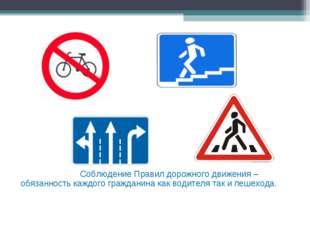 Соблюдение Правил дорожного движения – обязанность каждого гражданина как во