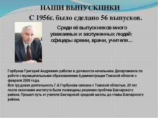 Горбунов Григорий Андреевич работал в должности начальника Департамента по ра