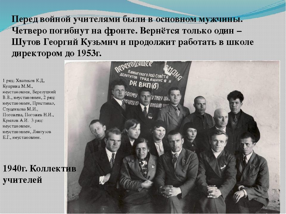 1940г. Коллектив учителей Перед войной учителями были в основном мужчины. Чет...
