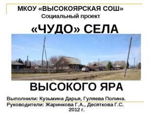 МКОУ «ВЫСОКОЯРСКАЯ СОШ» Социальный проект Выполнили: Кузьмина Дарья, Гуляева