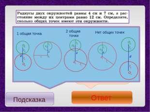 Расстояниемежду центрами окружностей больше суммыихрадиусов d > r1+ r2 о