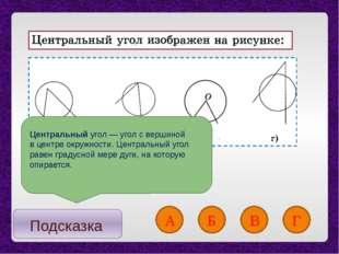 Подсказка А Б В Г Центральныйугол— угол с вершиной в центре окружности. Це