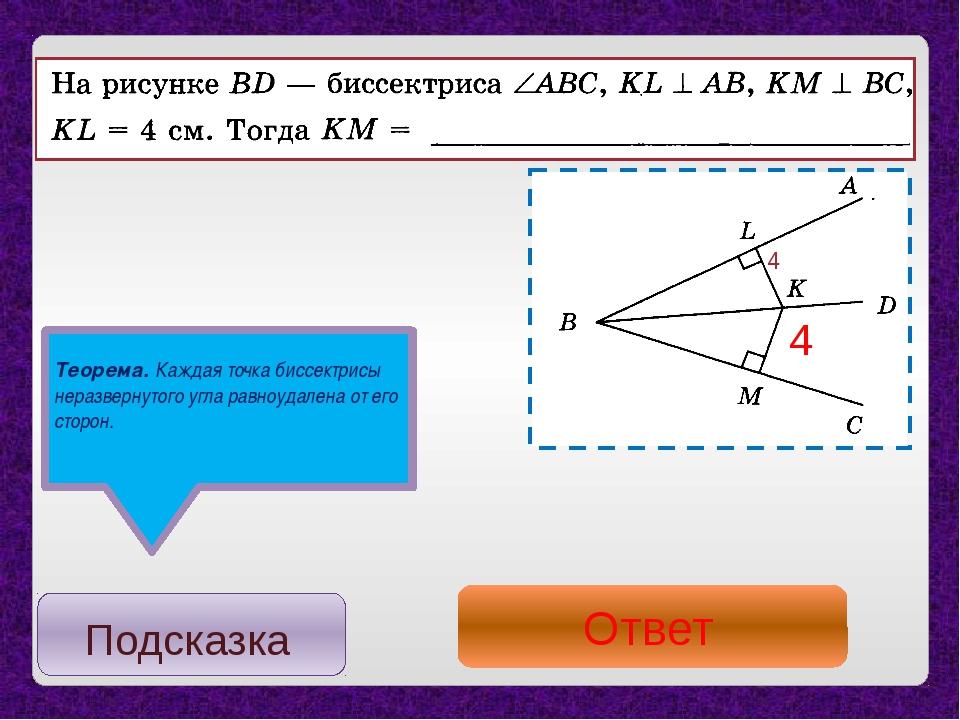 Теорема. Каждая точка биссектрисы неразвернутого угла равноудалена от его сто...