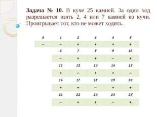 Задача № 10. В куче 25 камней. За один ход разрешается взять 2, 4 или 7 камне