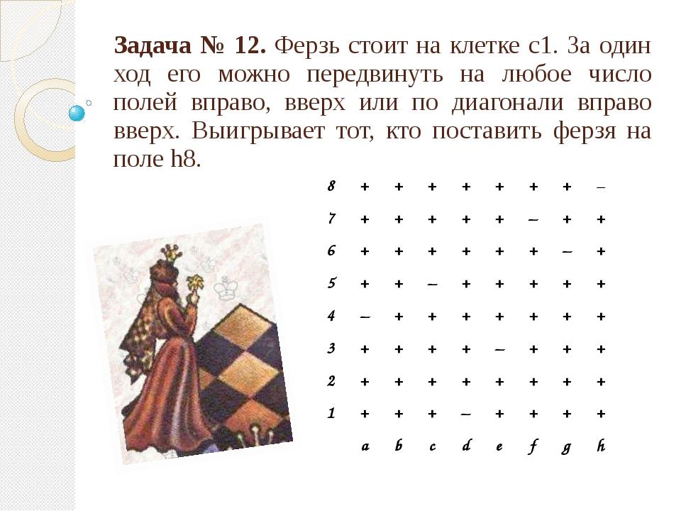 Задача № 12. Ферзь стоит на клетке с1. За один ход его можно передвинуть на л...