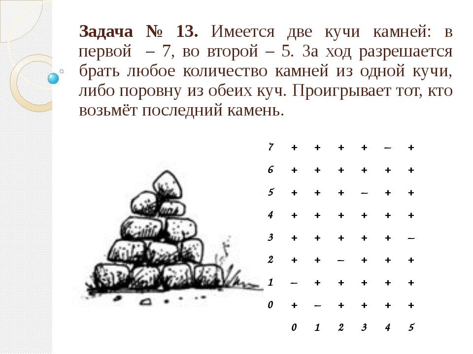 Задача № 13. Имеется две кучи камней: в первой – 7, во второй – 5. За ход раз...