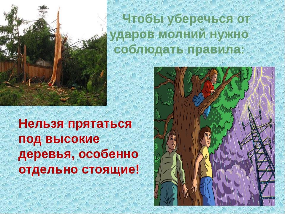 Нельзя прятаться под высокие деревья, особенно отдельно стоящие! Чтобы убереч...