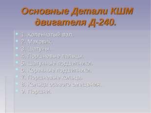 Основные Детали КШМ двигателя Д-240. 1. Коленчатый вал. 2. Маховик. 3. Шатуны