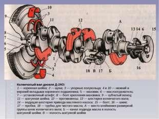 Коленчатый вал дизеля Д-24О: 1 — коренная шейка; 2 — щека; 3 — упорные полуко