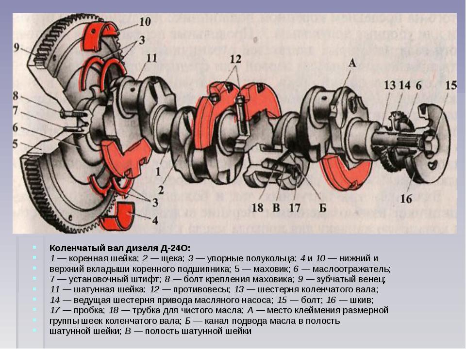 Коленчатый вал дизеля Д-24О: 1 — коренная шейка; 2 — щека; 3 — упорные полуко...