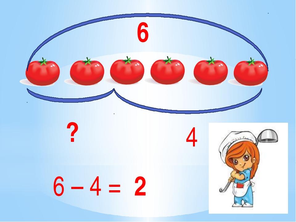 6 4 ? 6 – 4 = 2