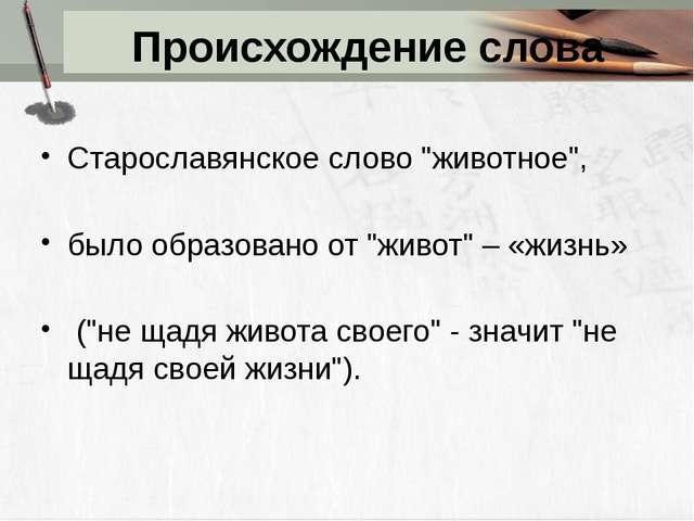 """Происхождение слова Старославянское слово """"животное"""", было образовано от """"жив..."""